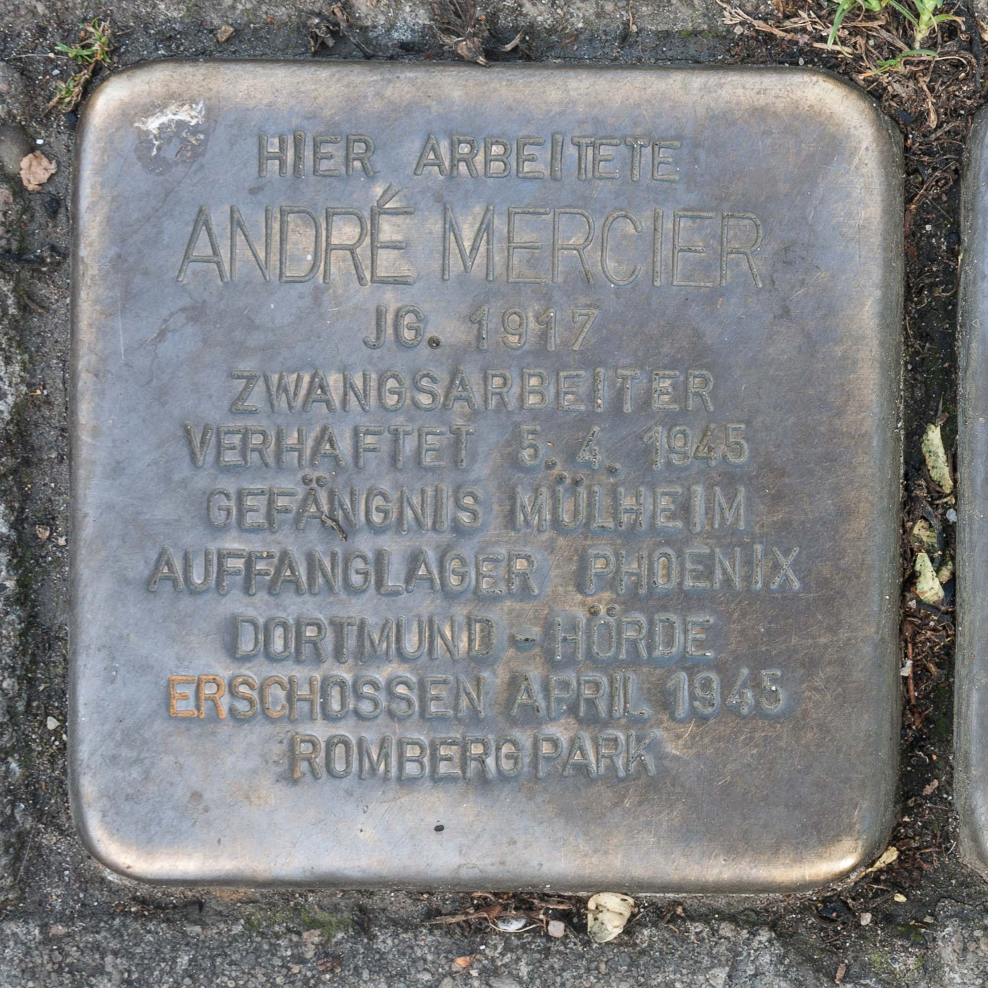 Stolperstein André Mercier