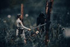 Rey und Kylo Ren im Wald