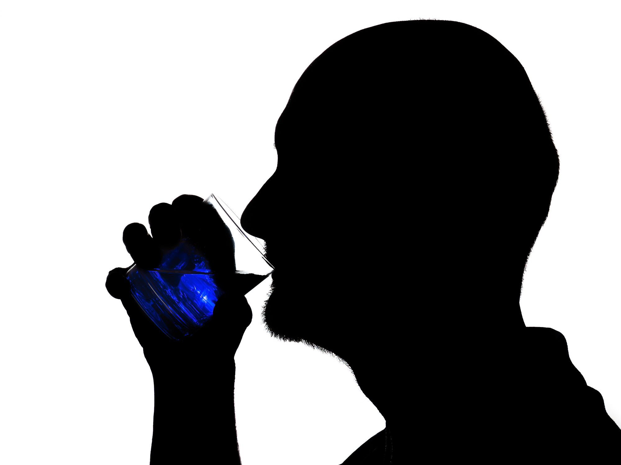 SEINe silhouette UND der SCHEIN im glas